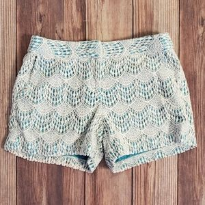 LOFT shorts White lace with teal lining